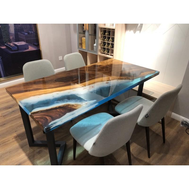 Table Salle A Manger En Noyer Massif Et Resine Epoxy Bleue